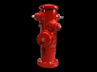 Hidrante rojo tornillos metálicos