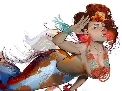 Koi Freckles illustration pin up mermaid vector