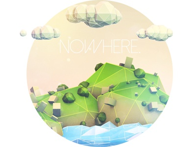 Nowhere sketch and toon low poly cinema 3d island