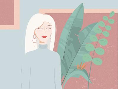 Girl with plants plants girl pastel colors illustrator illustraion