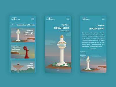 Lighthouses mobile app concept mobile design mobile app interface ui  ux uidesign adobe illustrator gradients illustration lighthouses lighthouse