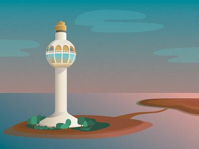 Jeddah Light ui design illustrations illustration texture gradients gradient seaside sea architectural architecture lighthouse illustration digital illustration design illustration art illustrator