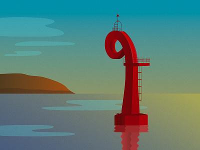 Haengdamdo Lighthouse architectural architecture landscape lighthouse seaside sea gradients gradient illustrator illustration illustrations illustration art adobe illustrator