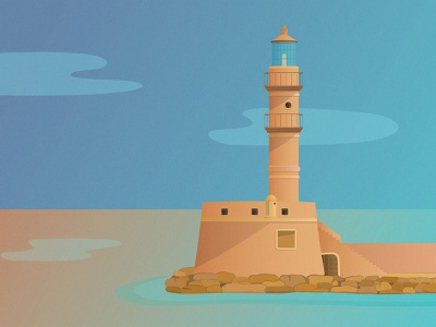 Chania Lighthouse adobe illustrator seascape landscape gradients architectural architecture lighthouse illustration art illustrator vector illustration vectorart adobeillustator digitalillustration digitalart illustraion