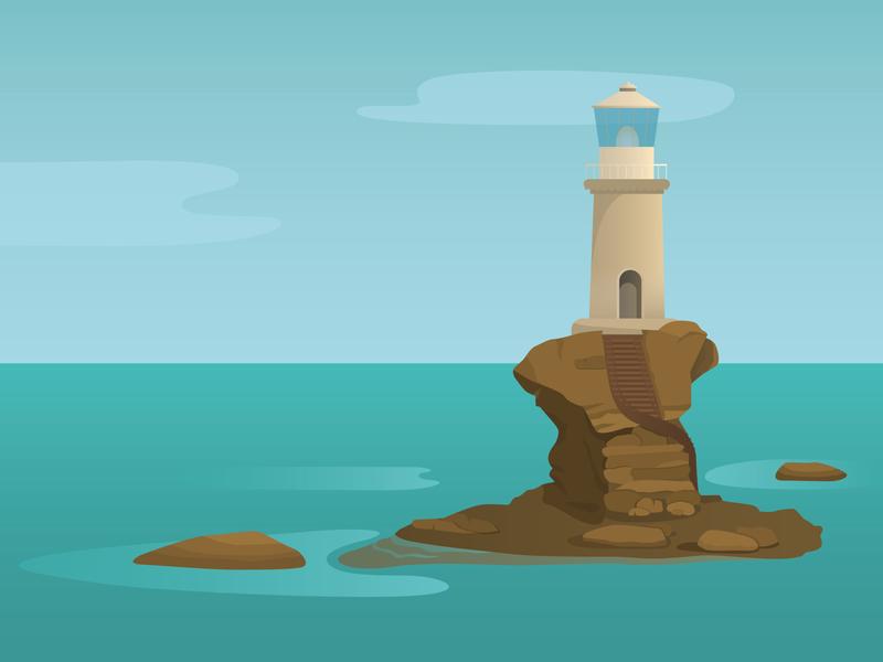 Tourlitis Lighthouse gradient vector illustration adobe illustrator summer sea lighthouse digitalart digital illustration illustration illustrator