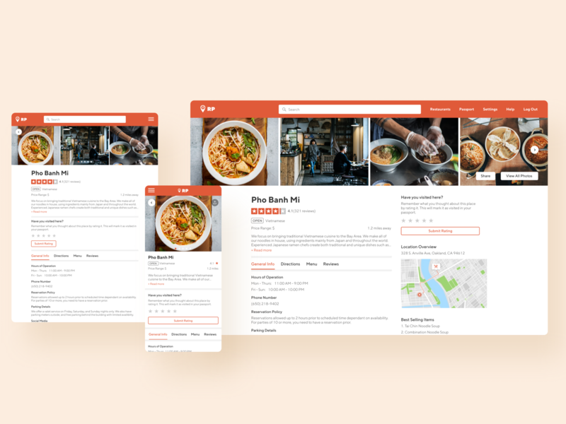 Restaurant Passport - Individual Restaurant Page desktop tablet mobile responsive design responsive website design responsive web design responsive website responsive product food restaurant app restaurant design ux ui