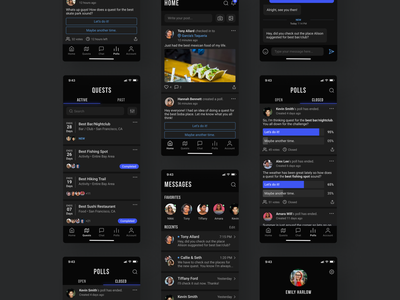 Mobile Social Gaming Platform - Quest for the Best ios app dark theme dark mode dark ui social media socialmedia social app game voting polls messages messenger gaming app gaming product mobile app design ux ui