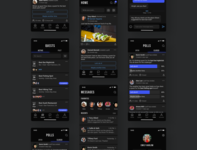 Mobile Social Gaming Platform - Quest for the Best ios app dark theme dark mode dark ui social media socialmedia social app game voting polls messages messenger gaming app gaming product mobile app design ux ui