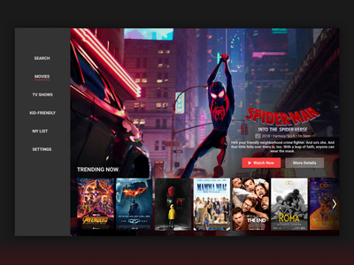 Daily UI 025 - TV App movie app movies tv app tv spiderman ux design dailyuichallenge dailyui025 dailyui ui