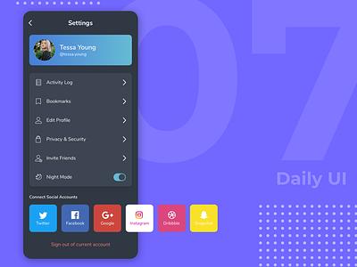 Daily UI 007 - Settings Page app settings social share dark mode dailyui dailyui07 dailyui007 ux ui