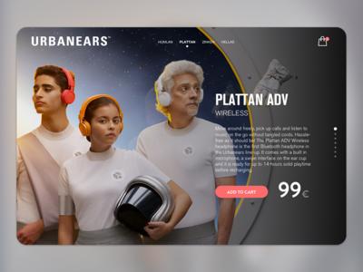 Urbanears | Concept headphones music urbanears plattan shoping card website ui