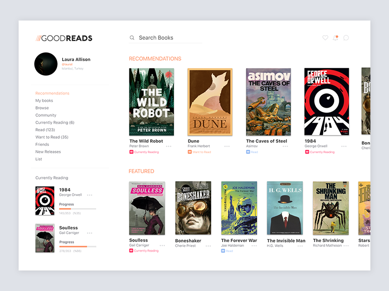 Goodreads Web | Concept ux ui minimal clean goodreads redesign website web concept book