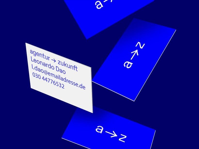 Agentur Zukunft Business Cards blue and white blue print business card businesscard bold clean minimal brand typogaphy logotype visual identity design logo branding