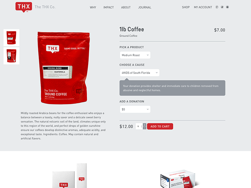 THX Product Page website ui ecommerce startup