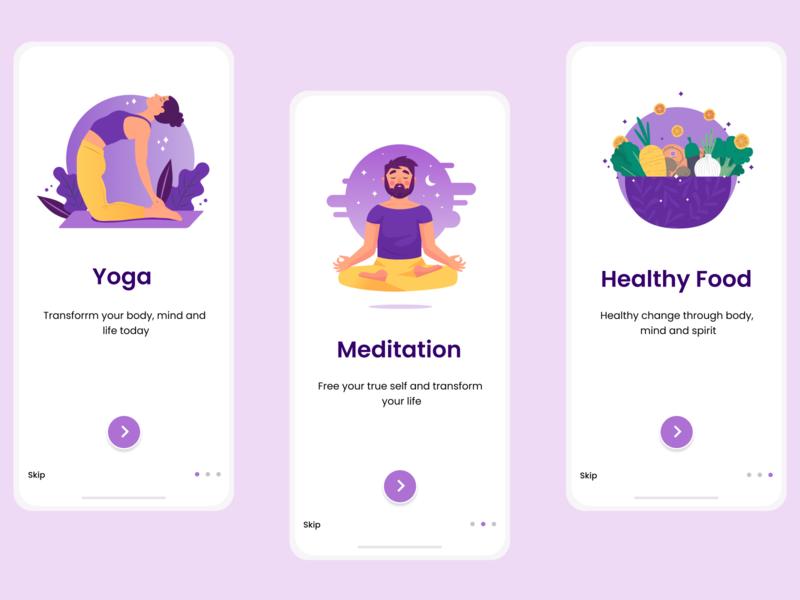 Yoga / Wellness app Onboard Screen onboarding screen onboarding ui design illustration appdesign app uiux uidesign figma figmadesign