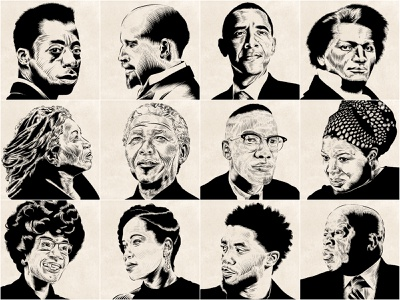 Black History Month Series texture portrait illustration portrait painting face brushpen chadwick boseman nelson mandela malcolm x obama photoshop adobe ink art digital illustration digital painting digitalart portraiture portrait design illustration art