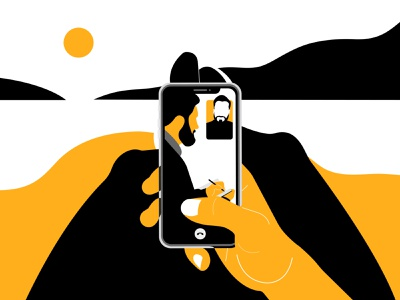 TaskHuman Live Call landscape phone app coaching mental health health wellness interaction video call phone figures negative space forms shapes limited palette minimal clean design vector illustrator illustraion design