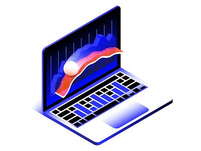 Dynamic Price Change ui computer spot illustration stocks graph isometric 3d laptop macbook apple ball metrics dataviz cricket sports branding design vector illustrator illustration