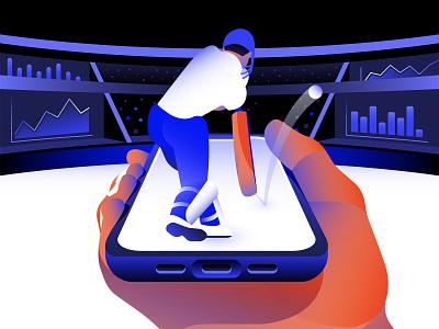 Hero Image for Sports Stock Exchange graph graphic design data phone ux hero image perspective mobile phone game iphone stadium athlete sports cricket design dataviz branding vector illustrator illustration