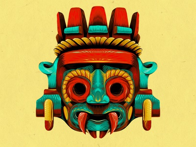 Tlaloc Aztec Deity tattoo design tribal procreate drawing illustrator digital illustration brushpen linework symmetry aztec head face mask art painting inking digital painting drawing procreate illustration