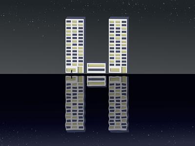 The Letter H alphabet letter reflection architecture blue illustration affinitydesigner vector design typography