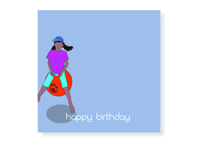 Spacehopper Birthday Card