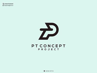 PT Concept Logo Dsign typography app branding minimal design logo logo lettering vector design icon pterodactyl pt