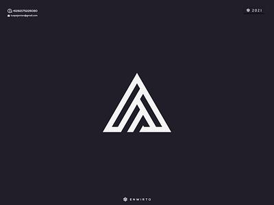 AM Concept Logo typography app branding minimal logo design logo lettering triangle vector design icon
