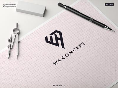 Letter WA Concept Logo web typography app branding minimal logo design logo vector design icon lettering wa