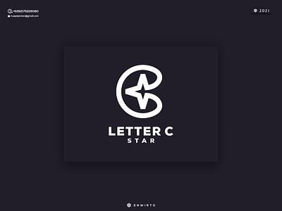 LETTER C STAR Logo round logo design graphic design motion graphics monogram branding illustration minimal logo design logo lettering vector design icon star c letter