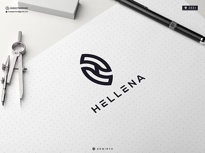 HELLENA LOGO letter monogram illustration minimal design logo lettering vector design icon branding logo motion graphics graphic design animation