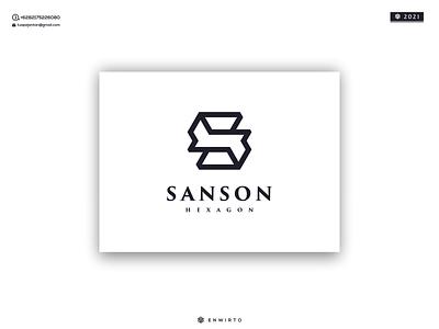 SANSON HEXAGON LOGO branding illustration minimal logo design logo lettering vector design icon monogram letter hexagon sanson