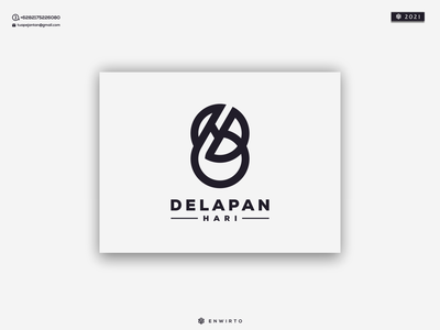 DELAPAN HARI LOGO monogram letter branding illustration minimal logo design logo lettering vector design icon