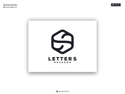 letter S Hexagon Logo monogram logos branding illustration logo minimal design logo lettering vector design icon hexagon s letter