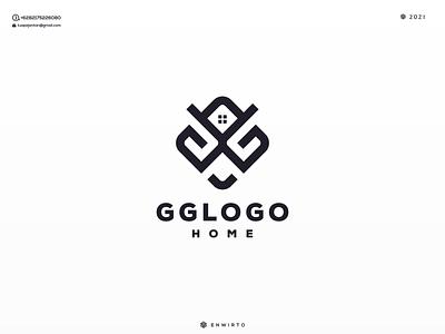 GG LOGO HOME branding illustration minimal design logo lettering vector design icon monogram logos logo home gg