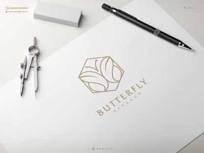 Butterfly Hexagon Logo branding illustration minimal design logo lettering design vector icon logos logo