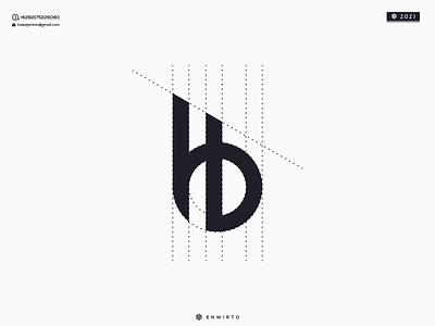 HB Monogram Logo branding illustration minimal design logo vector icon lettering letter designer design logos logo hb