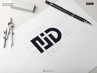 NJD Monogram Logo illustration minimal vector design logo lettering icon monogram letters letter branding desiner design logos logo njd