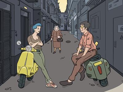 Azzurro cartoon drawing illustration illustrator meeting scooter vespa