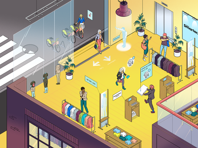 Wired UK - The Future of Business character money shop cartoon drawing isometric illustrator illustration
