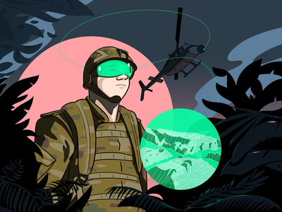 The Future Digital Battlespace augmented reality ar drawing cartoon military future helicopter illustrator illustration