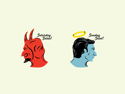 Saturday Satan, Sunday Saint graphic design art saint devil country music country vector illustration design art illustrator texture vector art illustration graphic vector design