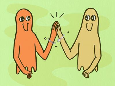 Friendship Bracelets clearline cute characters drawing digital design vector illustration art