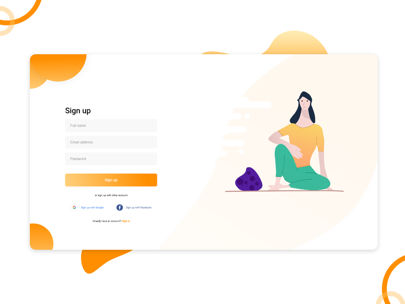 Daily UI #1 Sign up sign up page daily 100 challenge dailylogochallenge dailyui ui design challenge uidesign illustration ui ux design adobe xd