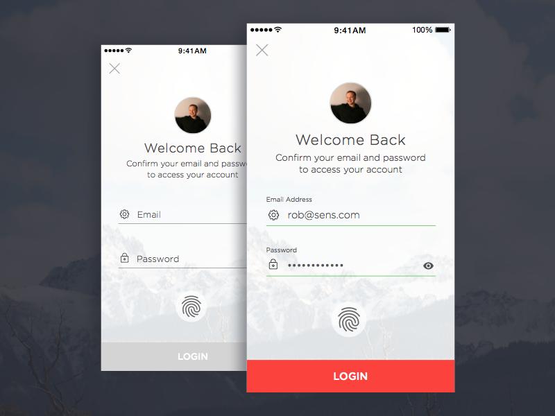 Login Screen UI /// Daily UI, Day 01 fields form ios visual design login ux ui dailyui
