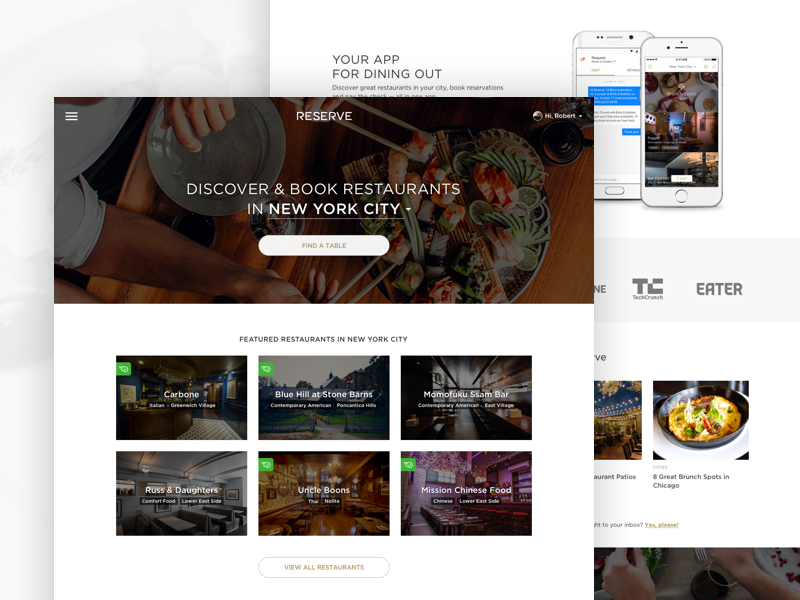 Discover & Book Restaurants webdesign clean minimal web homepage layout ux ui home page responsive web design website