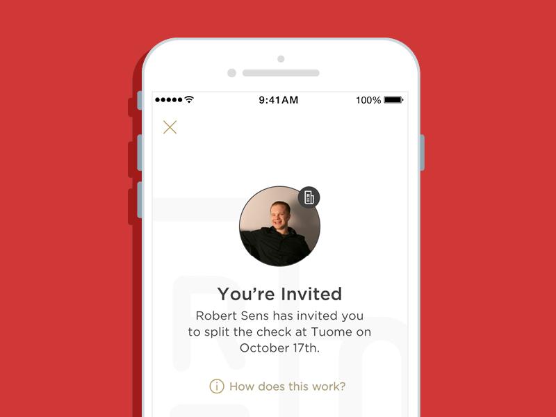 Digital Check Splitting: Invite Screen dining restaurant invite payment split check app ios