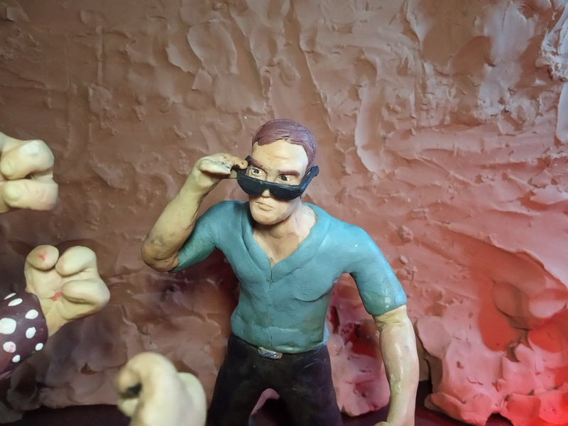 Plasticine Mortal Kombat - Johnny Cage character illustration plasticinema plasticine clay johnnycage mk mortalkombat
