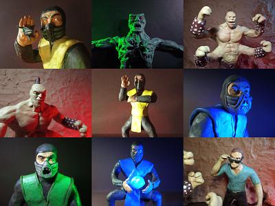 Plasticine Mortal Kombat - Characters plasticinema plasticine clay illustration characters johnnycage goro reptile subzero scorpion mk mortalkombat