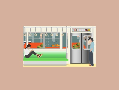 in the train with you subway railway train poet design illustration